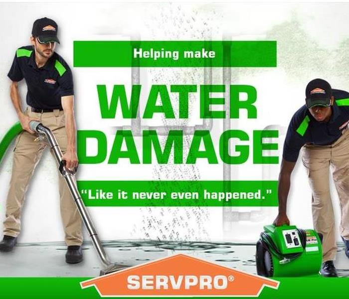 Male employees using professional equipment to clean water damage.