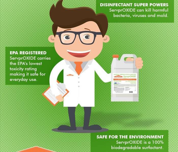 Male chemist holding professional cleaning product, Serproxide.