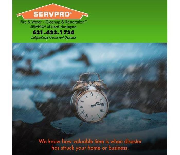 Clock representing 24/7 help from SERVPRO of North Huntington